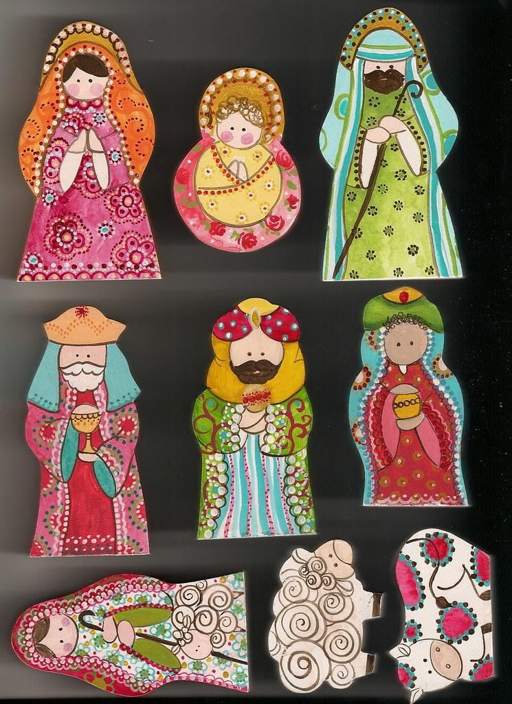 Pesebre pesebre de madera pintado a mano consta de 10 - Belenes de navidad manualidades ...