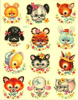 Cute Vintage Baby Animal Decals | by Vintage Supplies and Housewares