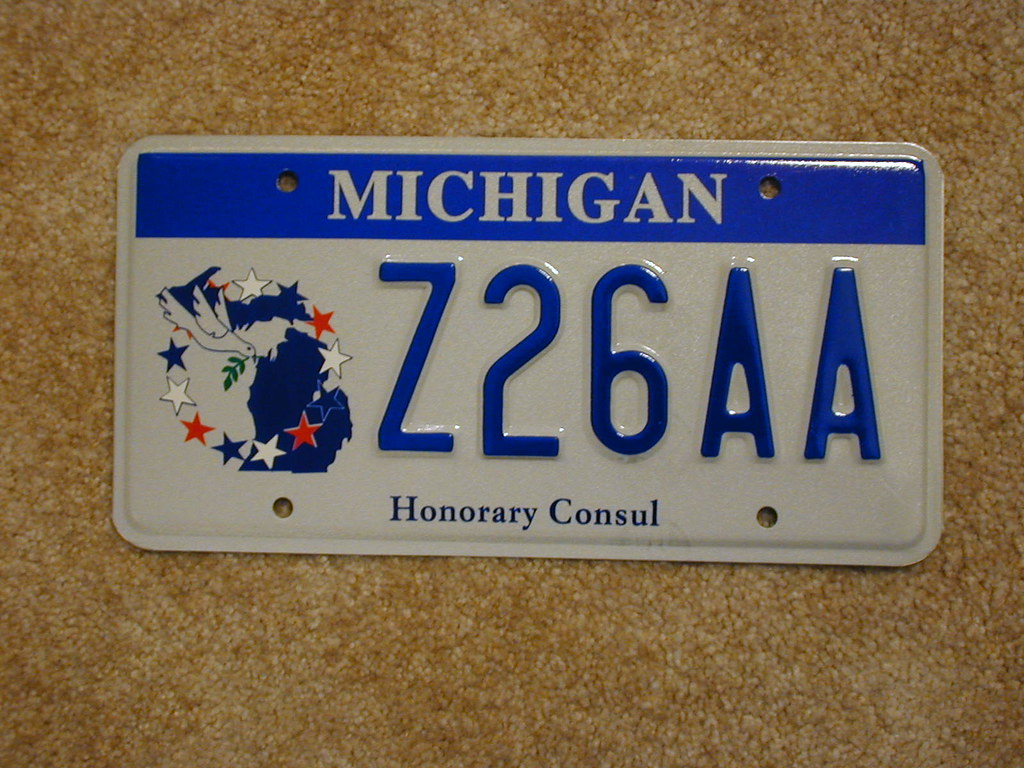 Michigan honorary consul license plate issued in pairs for Consul license