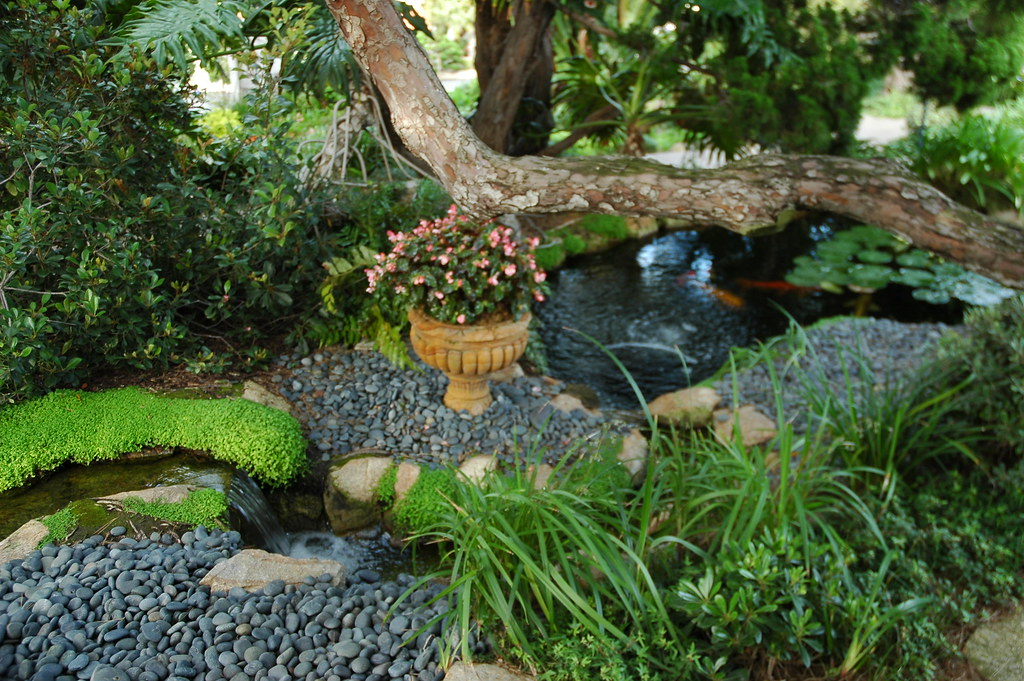 Little miniature waterfall and stones flower pot koi pon for Miniature fish pond