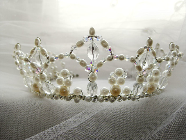 Renaissance Bridal Crown Swarovski White Pearls And Ab