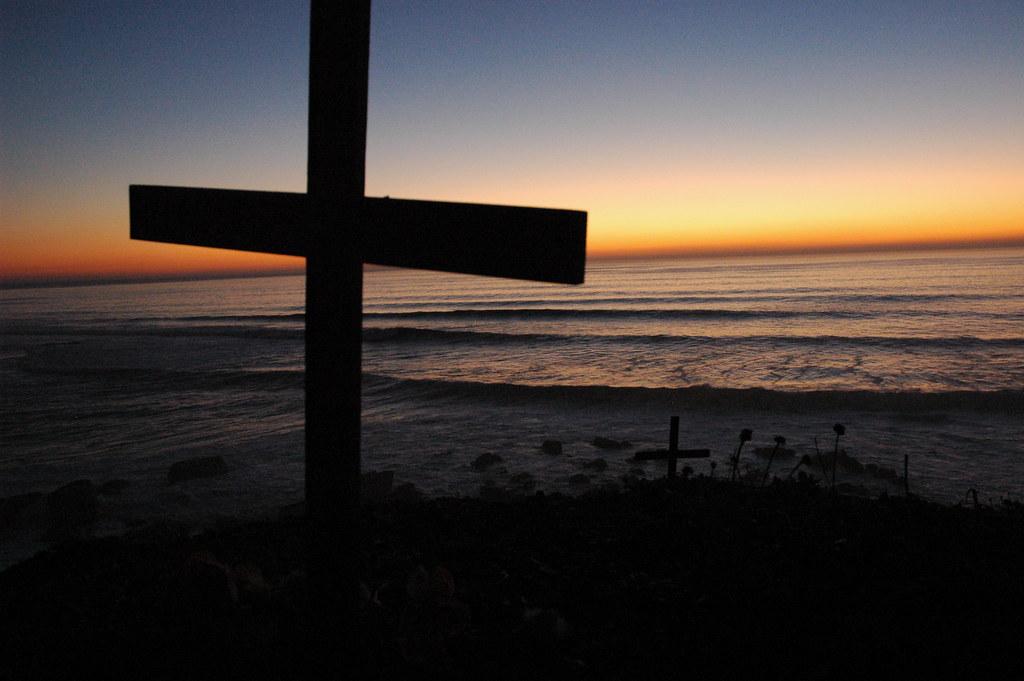 Cross Cross And Rocks Sunset Bodhisattva Beach North O