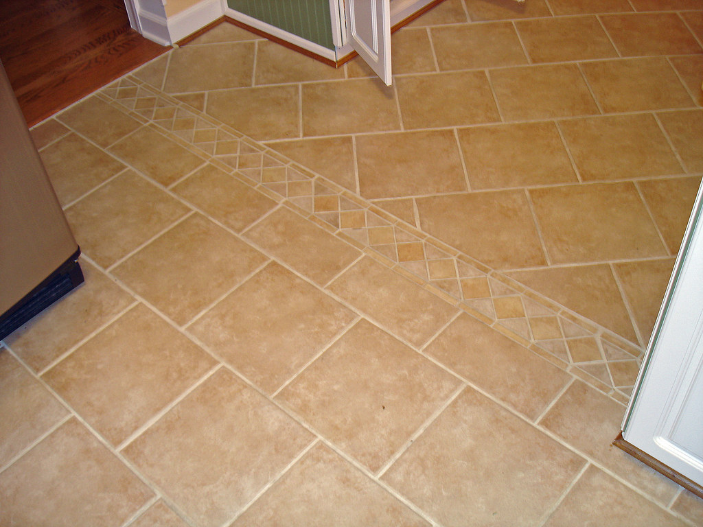 Tile Floor Accent In Living Room