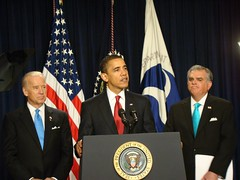 President Obama, flanked by Vice President Biden and Secretary of Transportation, Ray LaHood | by Center for Neighborhood Technology