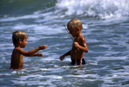 View Of Boys In The Surf At Sebastian Inlet State Park Me