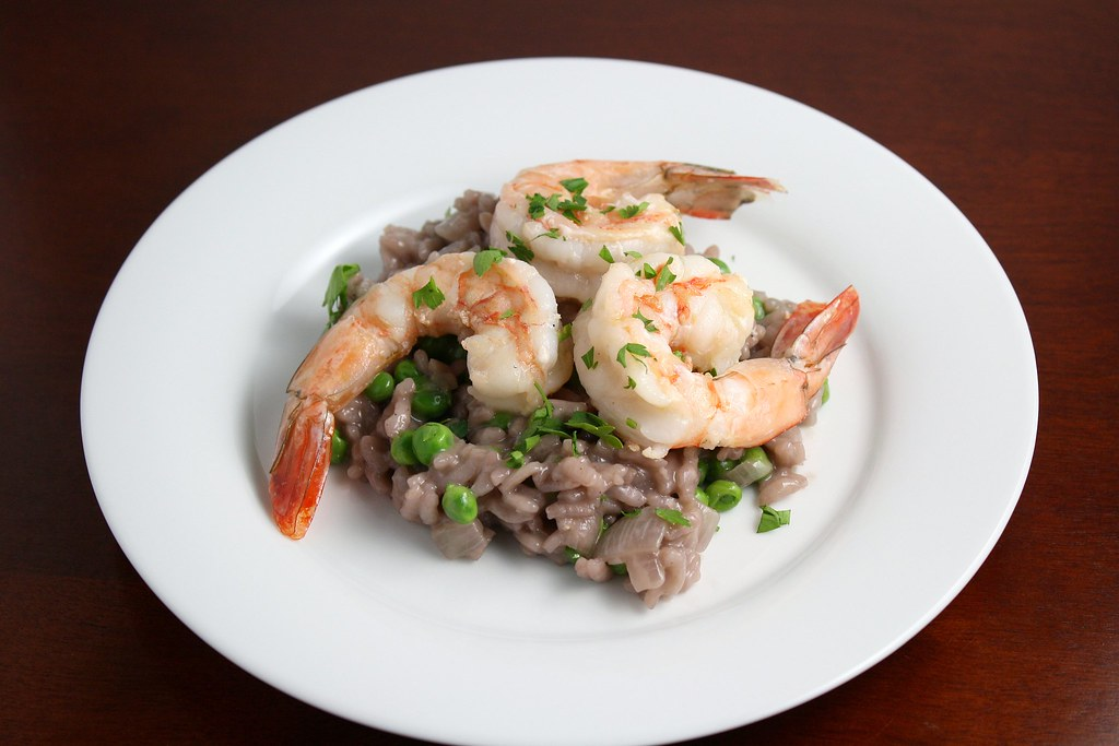 Red Wine Risotto with Peas and Shrimp | dishingupdelights.bl ...