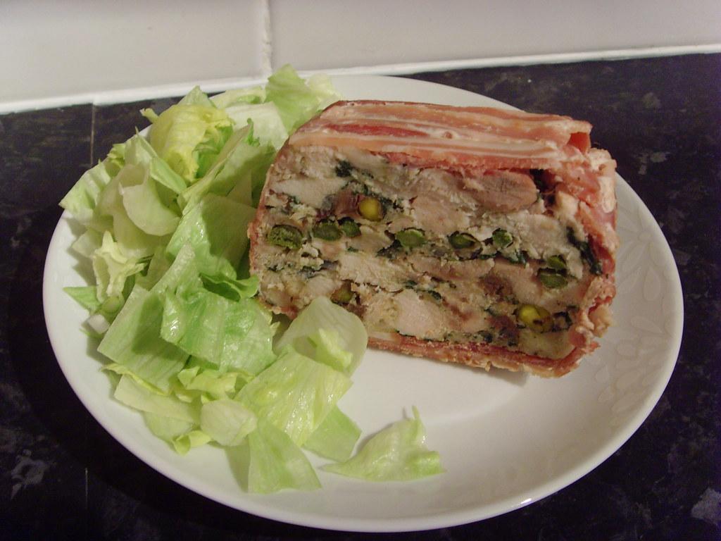 Chicken bacon and pistachio terrine includes spinach for Chicken and pork terrine with pistachio