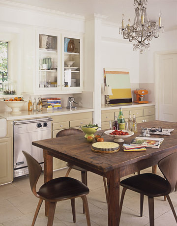 White Kitchen Mod Traditional Mix Norman Cherner Chairs