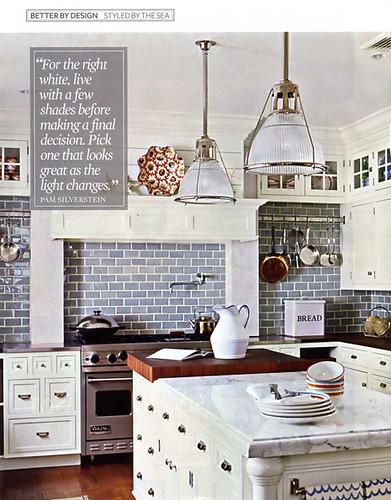White kitchen blue subway tile white marble in beach in for White subway tile kitchen designs