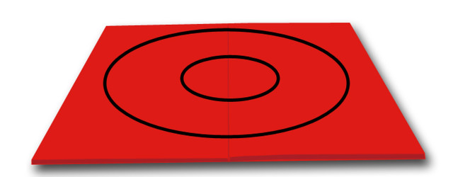 Red Wrestling Mat With Black Circles 10 X 10 X 1 3 8 Quot T