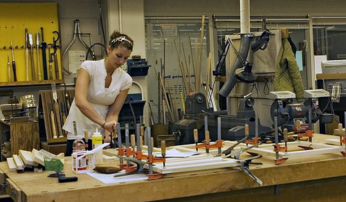 A student works on an architecture project in the Hopkins ...