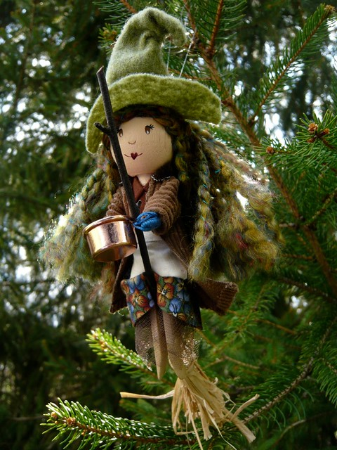 Flying In A Tree Kitchen Witch Clothespin Doll Sold
