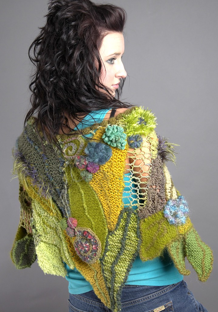 Knitting Jobs Ireland : Freeform leaf shawl my own design featured in belle