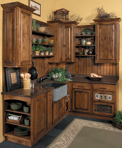 Rustic kitchen cabinets starmark cabinetry this for Rustic white kitchen cabinets