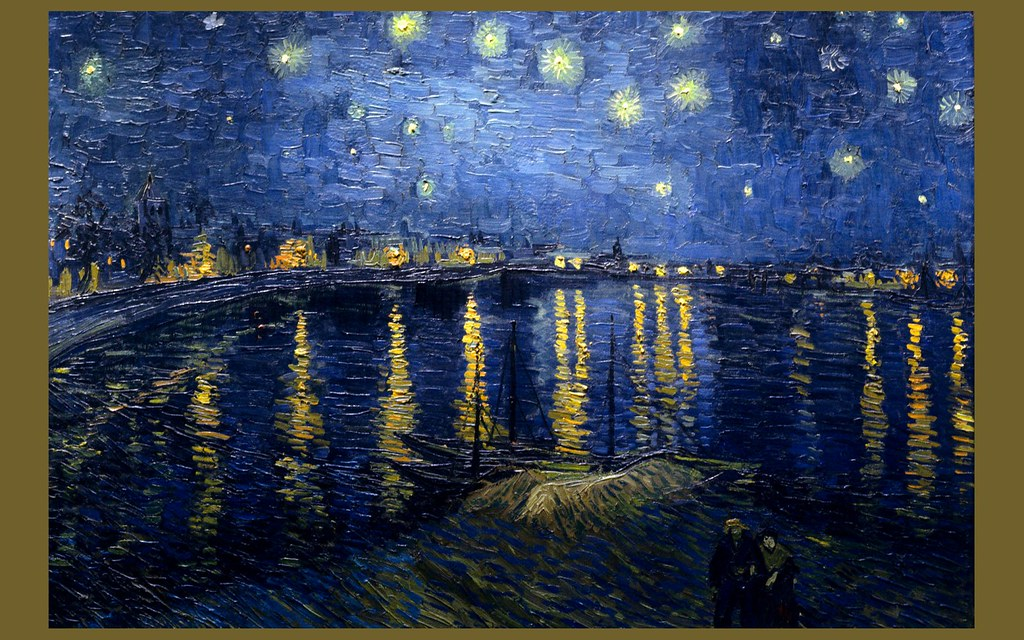 Painting starry night over the rhone vincent van gogh for Trodel mobel