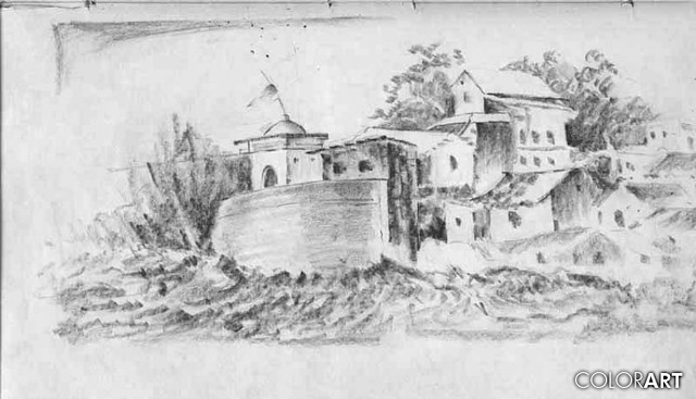 Pencil Sketches Village Life