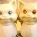avon - glass cat cologne bottles