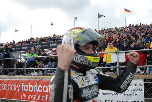Seeley after sealing his 2nd victory of the day | by BBCNI Northwest 200