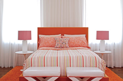 Colorful Modern Bedroom Pink Orange White Saarinen