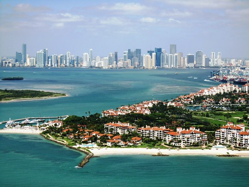 Miami & Fisher Island from 500ft