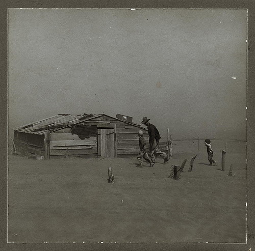 Farmer and sons walking in the face of a dust storm. Cimarron County, Oklahoma (LOC) | by The Library of Congress