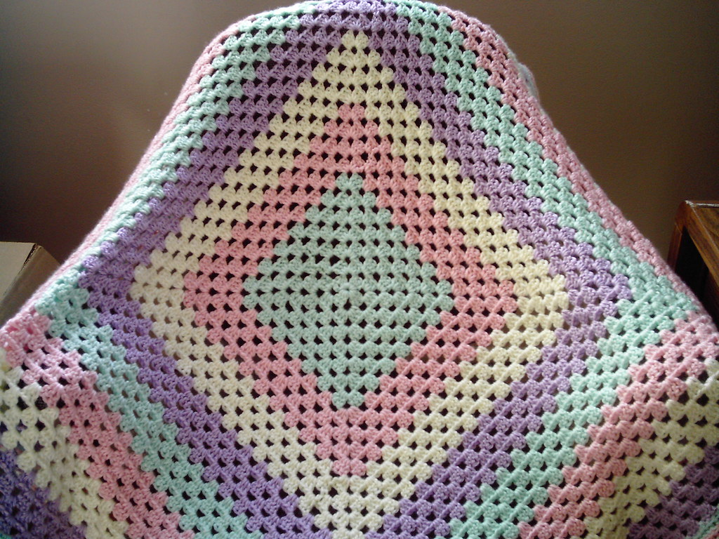 Lapghan Knitting Pattern : Baby Girl Granny Square Afghan Caron Simply Soft ajscrochet Flickr