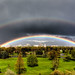 Boise downtown, framed by a rainbow. - HDR