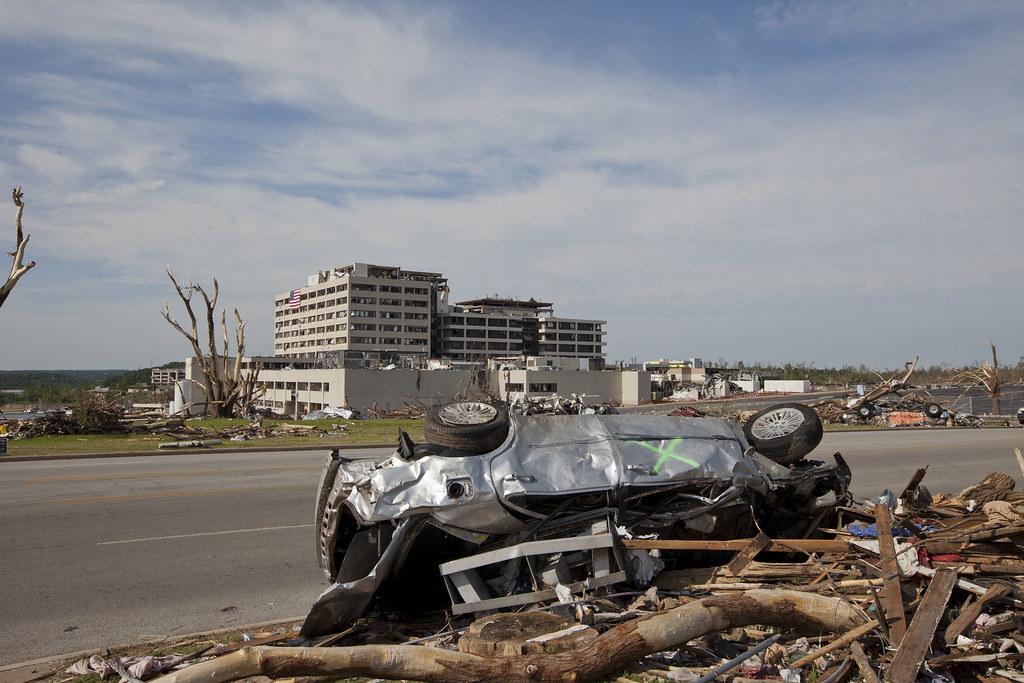 Joplin F5 Tornado Damage - May 2011   A car lies on its ...