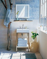 Modern wallpaper: Blue + white Cole & Son Cow Parsley + earthy, natural bathoom | by SarahKaron