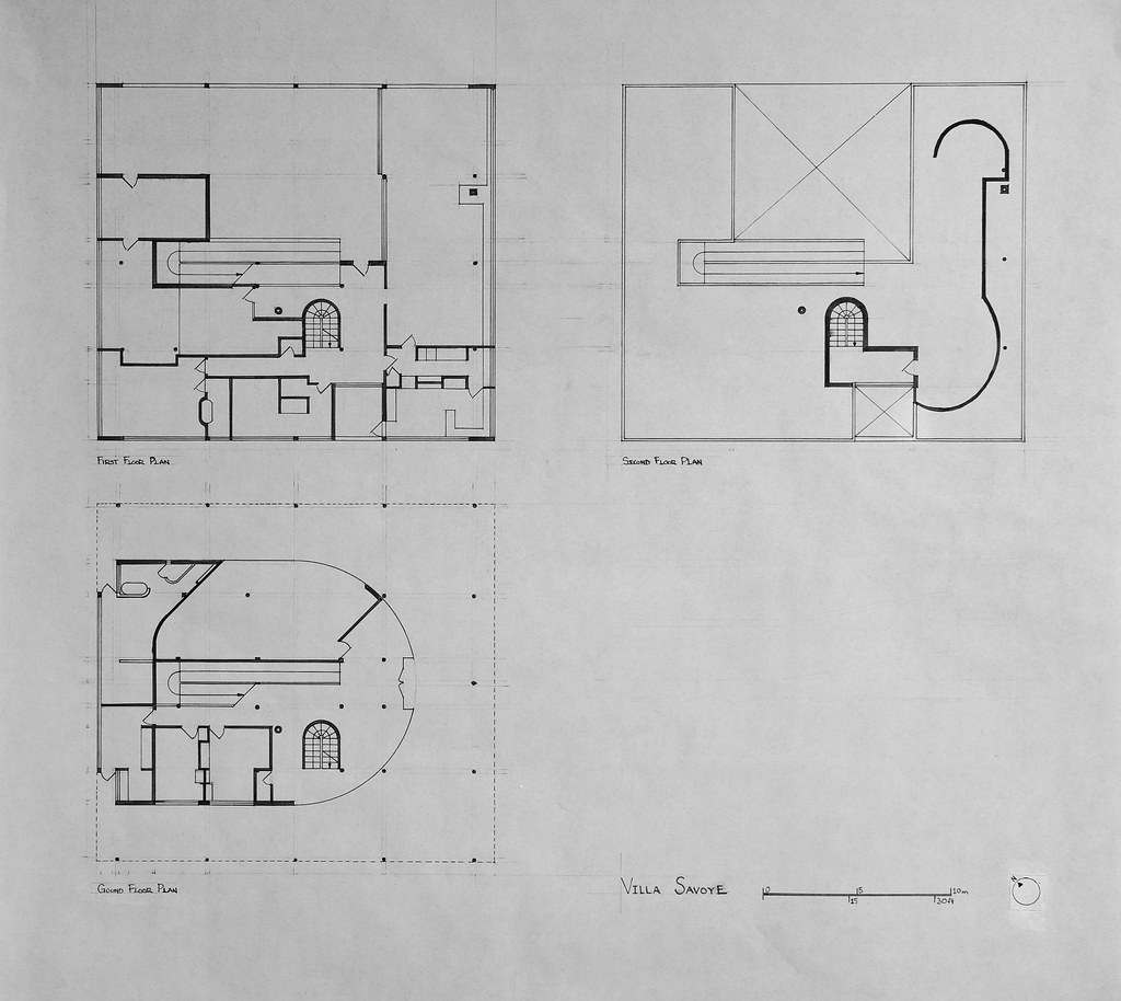 Pics for villa savoye plan dwg for Villa floor plans