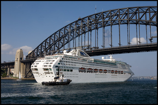 Cruise Ship Dawn Princess Going Under The Sydney Harbour