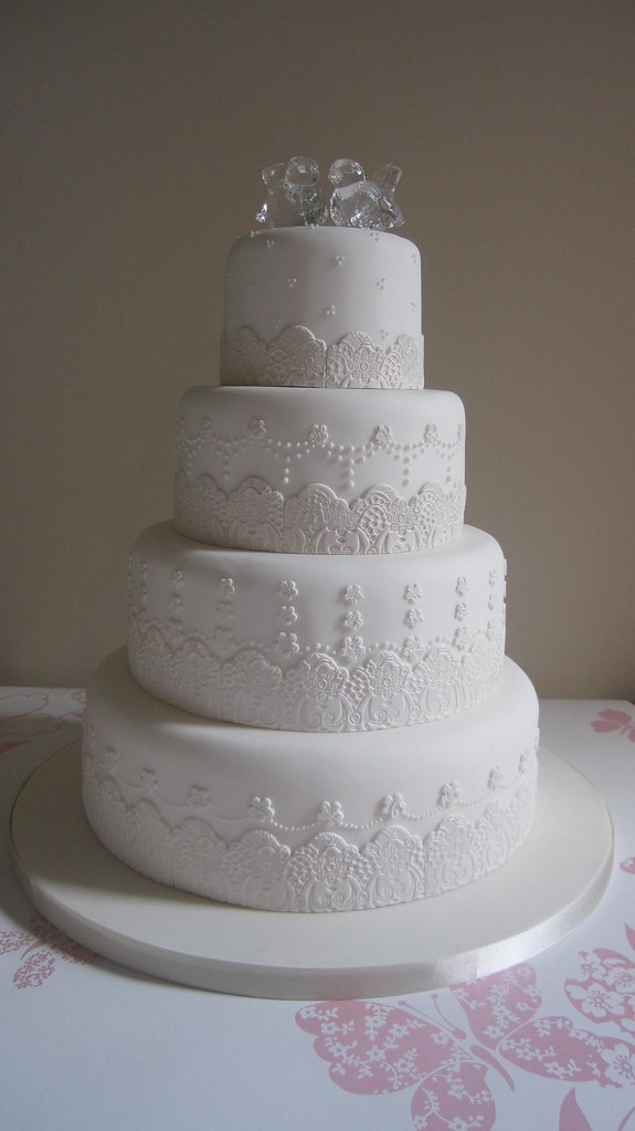 wedding cakes made with royal icing white wedding cake edible lace and royal icing detail 24966