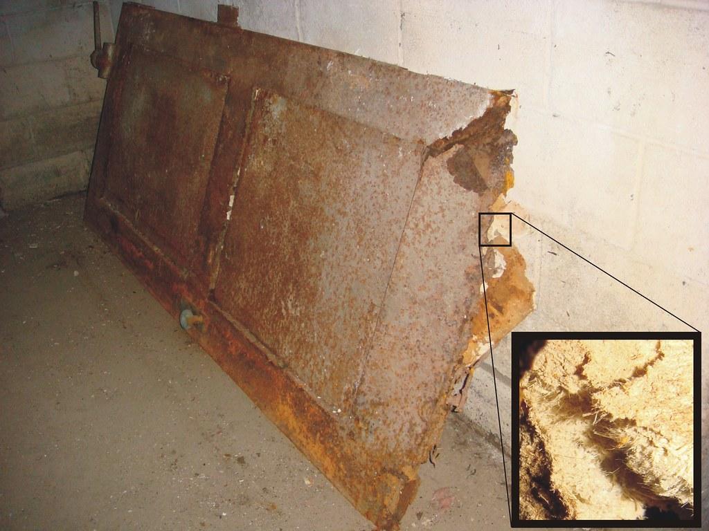 Asbestos Fire Rated Door Metal Damage View Of An Older