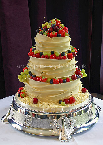 wedding cakes with fresh berries wedding cake white chocolate wrap amp fresh fruit paula 26030
