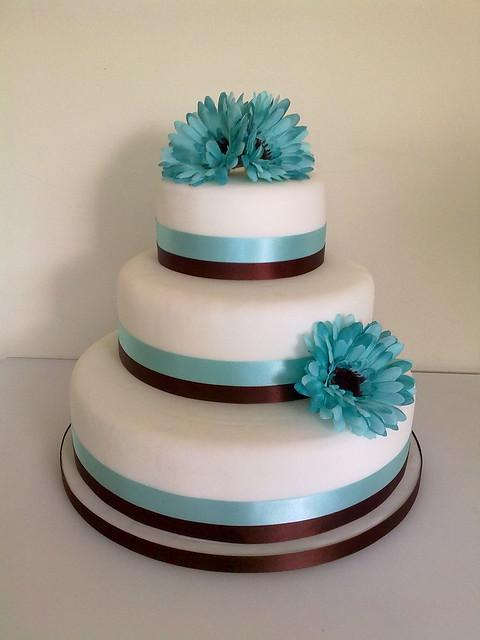 Blue Gerbera Wedding Cake