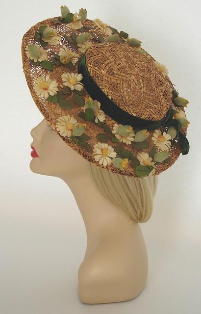 ... freudianslipsvintage vintage 1940 s flower trimmed straw hat  e0d7c912872
