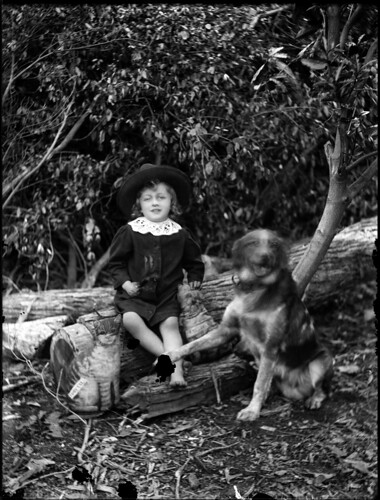 Portrait view of child wearing a sun hat, with dog and toy cat (different angle) | by Powerhouse Museum Collection