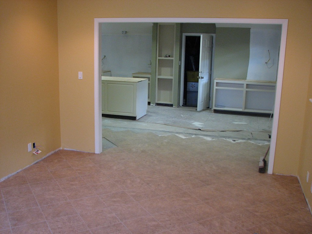 White Flooring Living Room With Grey