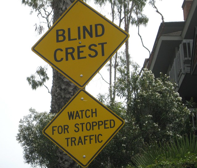 Crest Foods Company Mail: Blind Crest Warning Sign @Bottom Of Steep Hill