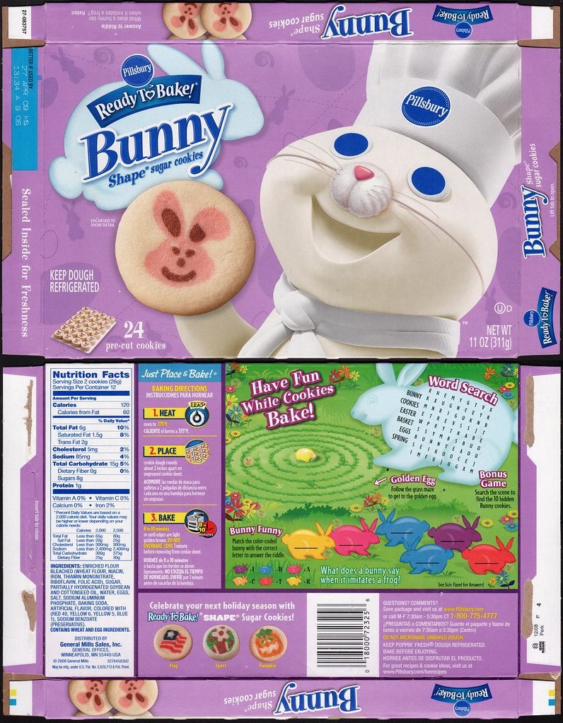 Pillsbury Ready-to-Bake Bunny Shape Sugar Cookies box - 20 ...