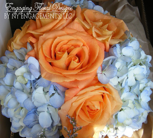 Bouquet of blue hydrangeas and orange roses | Flickr ...