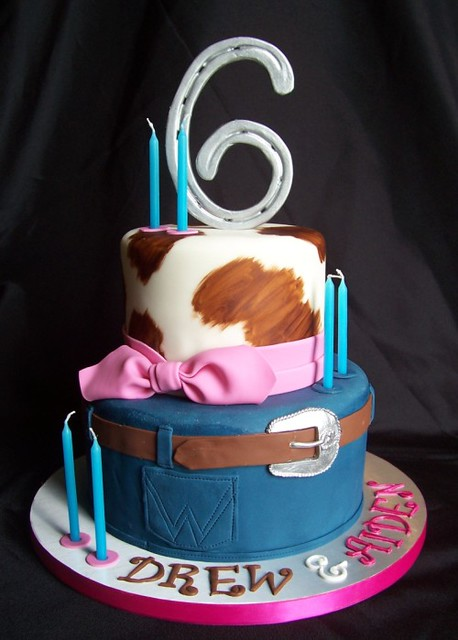 Stupendous Western Birthday Cake For Twins Rebecca Sutterby Flickr Funny Birthday Cards Online Aboleapandamsfinfo