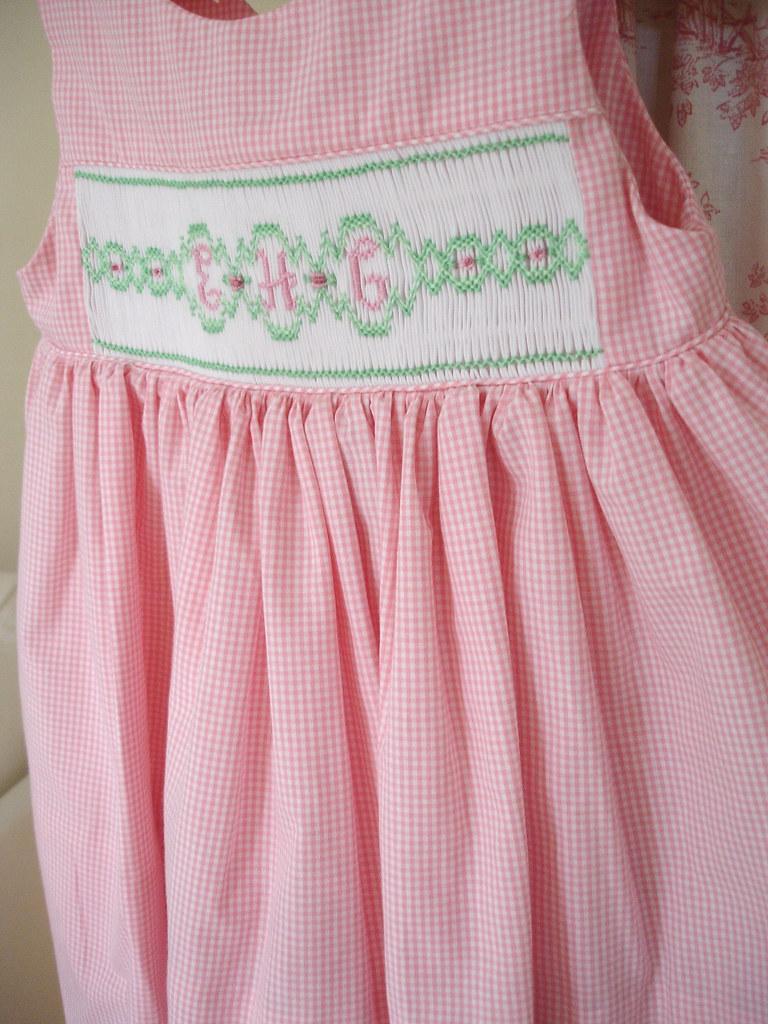 smocked monogram dress  pink gingham