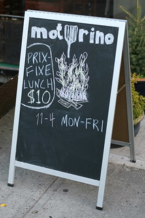 Chalkboard, advertising $10 prix-fixe lunch, outside Motorino, Williamsburg, Brooklyn | by Eating In Translation