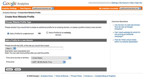 Create new website profile google analytics New website create free online