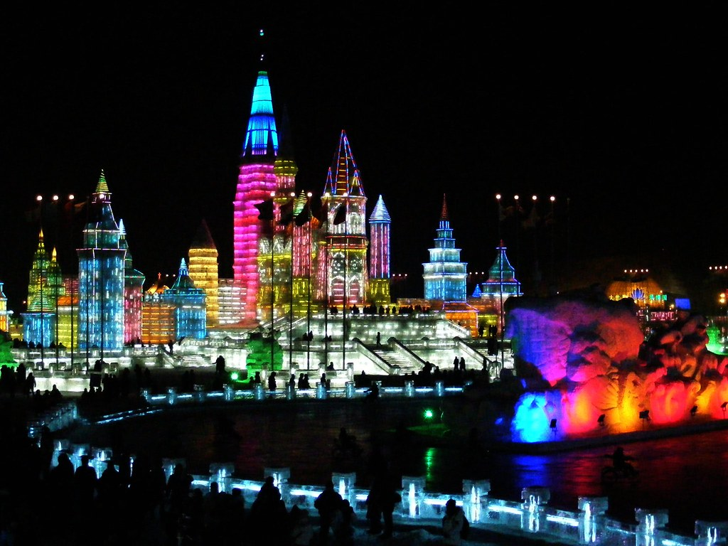 snow and ice world festival in harbin  china