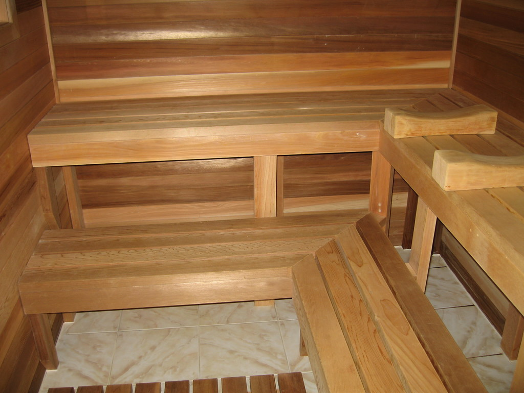 basement sauna bench cam lieu flickr. Black Bedroom Furniture Sets. Home Design Ideas