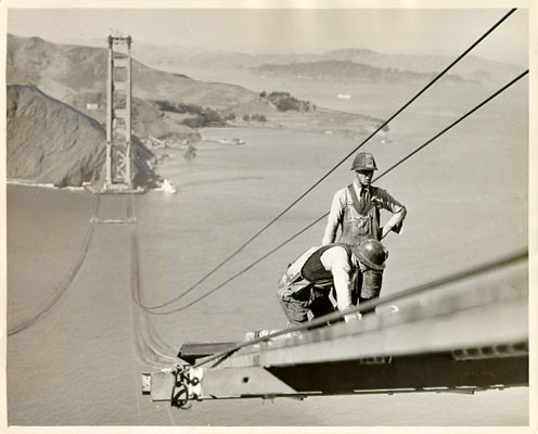 Two construction workers on the Golden Gate Bridge, San Francisco, 1935