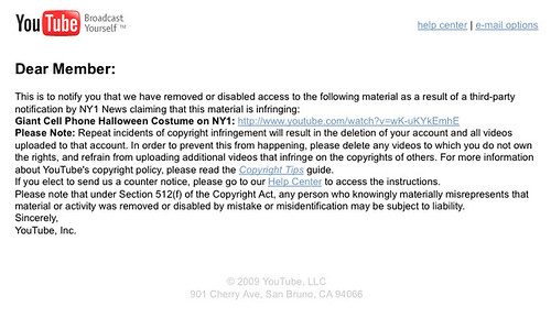 my first dmca takedown notice i had posted a video of