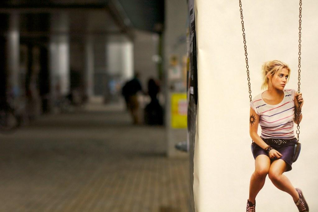 girl on swing above - photo #11